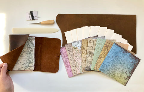 Small DIY Rustic Brown with Maps Leather Journal Kit
