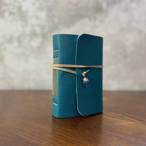 Small Teal Leather Artisan Journal, Bullet/dot, Lined, or Blank Paper