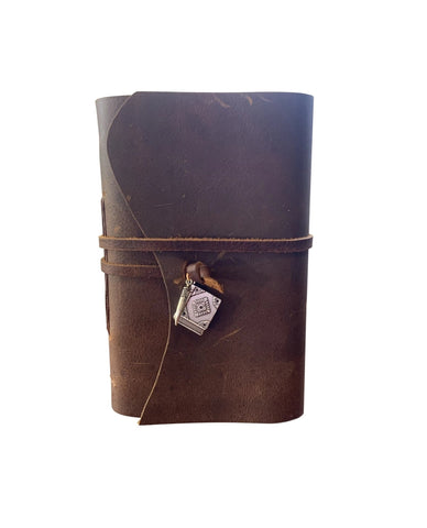 Basilisk Tooth and Tom Riddle's Diary Charms - Wizard Inspired Rustic Leather Journal or Sketchbook