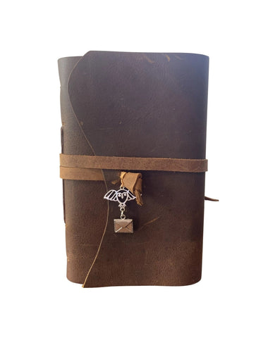 Hedwig with Mail Charm - Wizard Inspired Rustic Leather Journal or Sketchbook