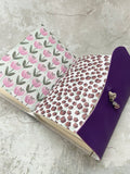 Medium Purple Leather Artisan Journal with Painted Petals Paper - Refillable