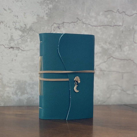 Medium Teal Leather Artisan Journal - Refillable