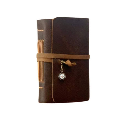 Medium Rustic Leather Travel Journal with Compass Charm and Map Paper