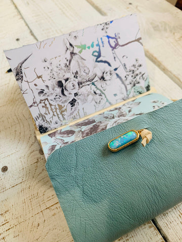Small Sky Blue  Leather Journal with Shimmer Paper and Opal (Refillable)