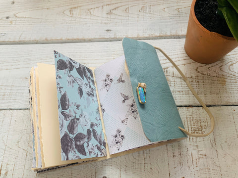 Small Wrap Around Leather Journal with Shimmer Paper - Bullet/Dream Journal