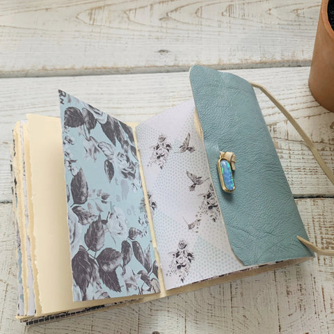 Small Light Blue Leather Journal with Shimmer Paper - Lined, Blank, or Dot Paper