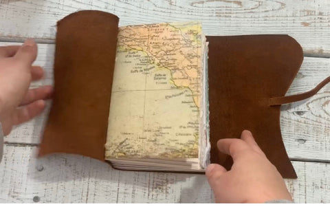 Map Style Leather Travel Journal - Map Junk Journal