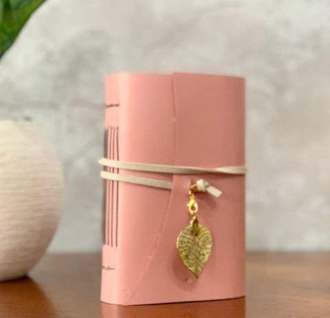Small Pink Leather Artisan Journal - Refillable, Shimmer Papers and Charm