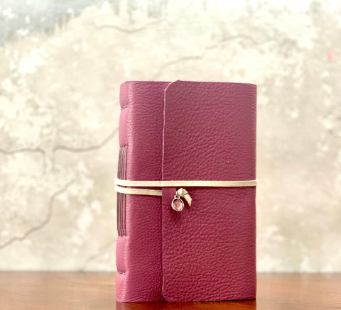 Women's Magenta Leather Artisan Journal with Floral Paper - Refillable