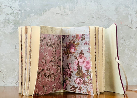 Women's Leather Artisan Journal with Floral Paper - Refillable