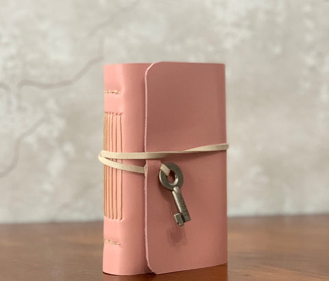 Small Pink Leather Artisan Journal with Key Charm