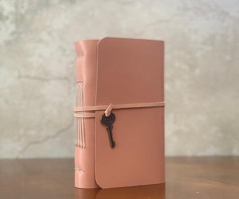 Pink Goatskin Leather Wrap Around  Journal With Key Charm