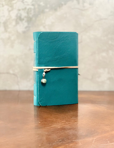 Teal Women's Leather Artisan Journal with Shimmer Paper