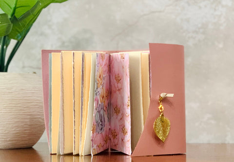 Small Pink Leather Artisan Journal - Refillable
