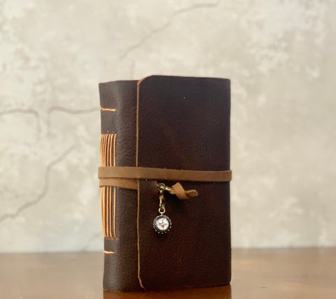 Rustic Premium Leather Travel Journal, Compass Charm - Adventure Notebook