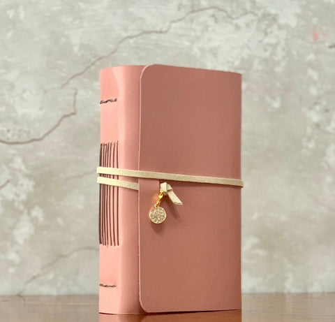 Pink Leather Artisan Journal,  Refillable Medium