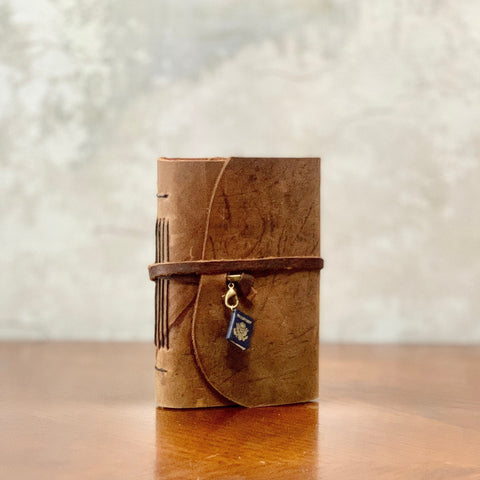 Small Wrap-Around Leather Travel Journal with Passport Charm