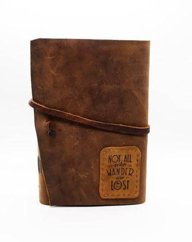 "7x5 ""Not All Who Wander"" Map Style Leather Travel Journal"