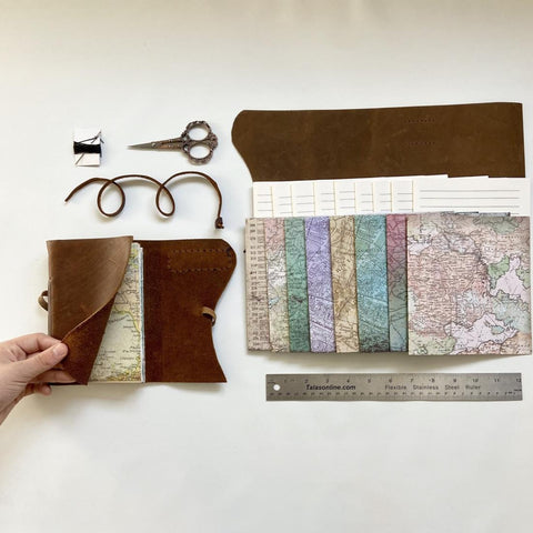 Medium DIY Rustic Brown with Maps Leather Journal Kit