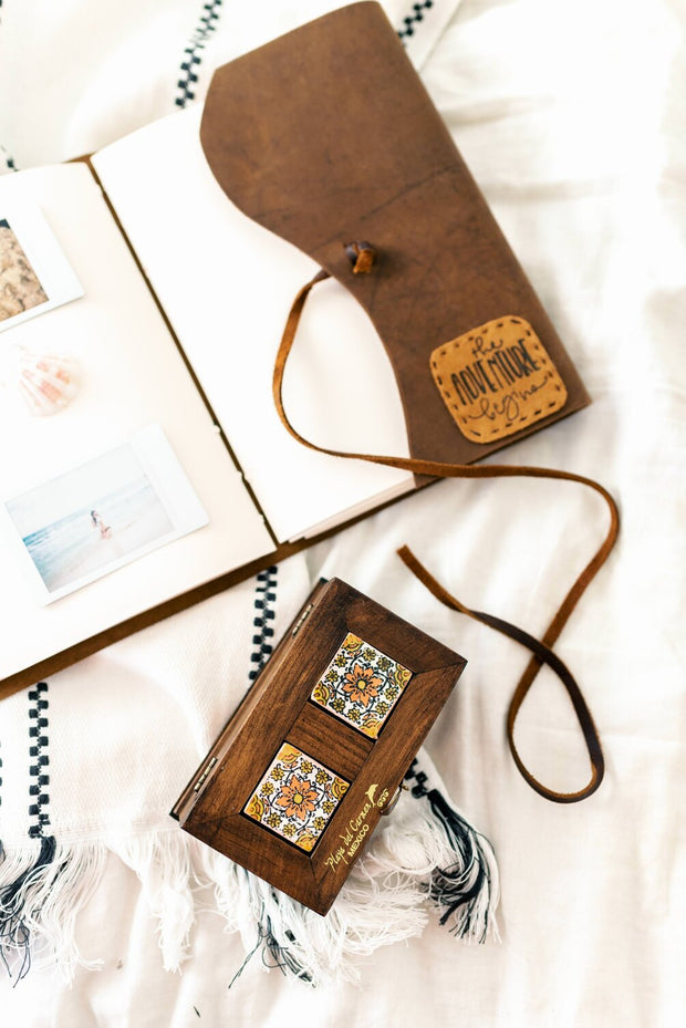 """9x6 """"The Adventure Begins"""" Map Style Travel Journal 1"""