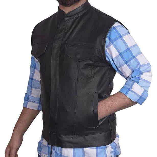Genuine Leather Club Style Vest with Gun Pockets