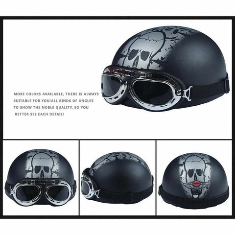 German Style Half Helmet with Harley Goggles
