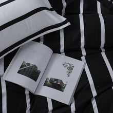 Load image into Gallery viewer, Black + White Striped Bedding Set - Moonova Home