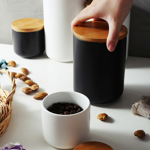 Ceramic Jars with Bamboo Lids