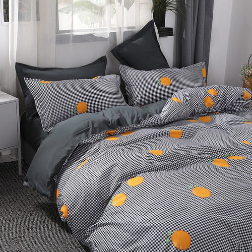 Orange Gingham Bedding Set - Moonova Home
