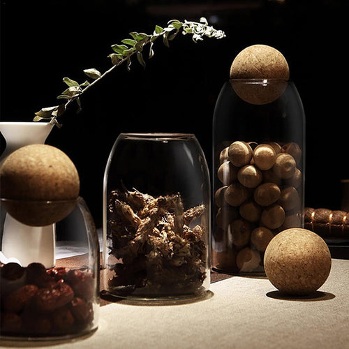 Glass Jars with Cork Ball Stoppers