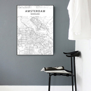 Amsterdam Map Print - Moonova Home