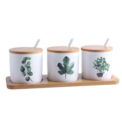 Set of Ceramic Jars with Painted Greenery
