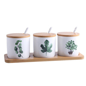 Set of Ceramic Jars with Painted Greenery - Moonova Home