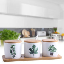 Load image into Gallery viewer, Set of Ceramic Jars with Painted Greenery - Moonova Home