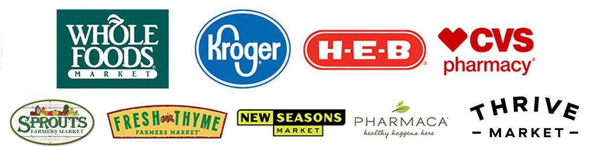 store logos: target, whole foods, krogers, cvs, and more.