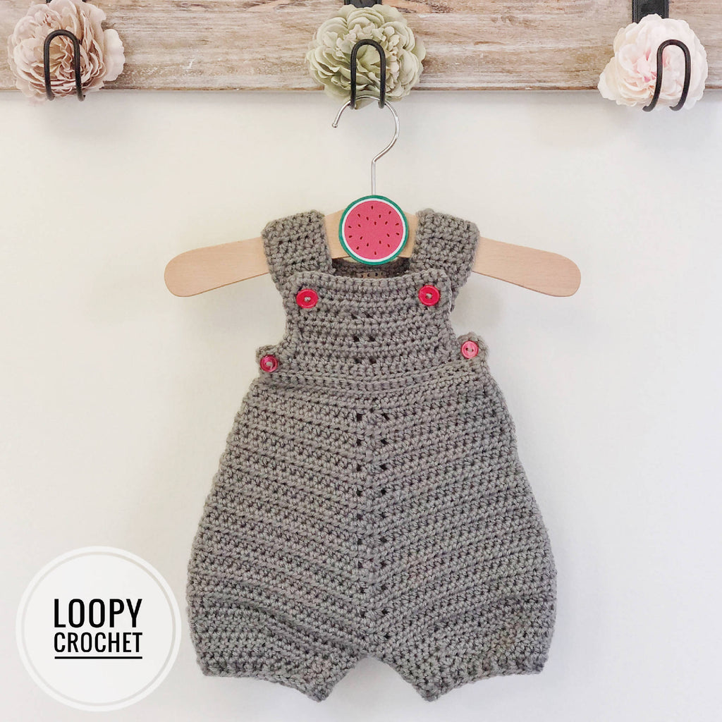 Grey Newborn Crochet Romper