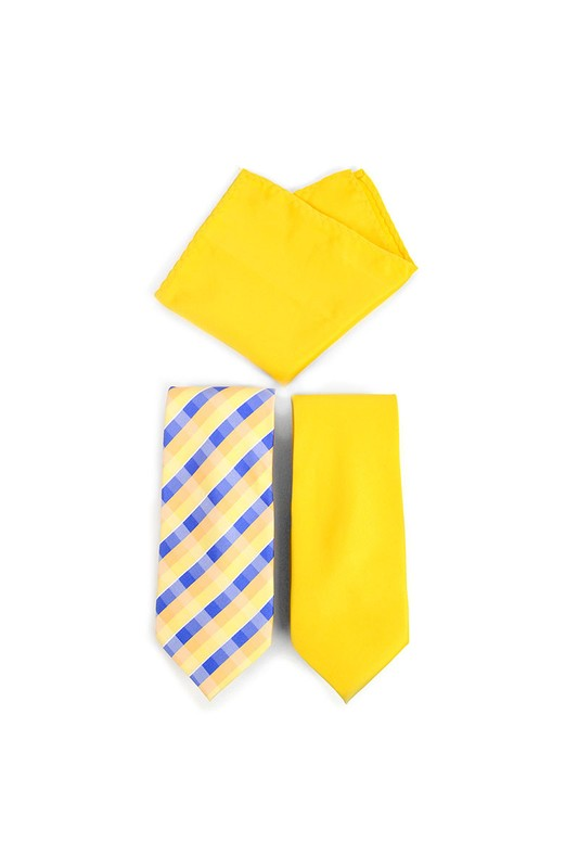 Yellow/Plaid Tie Set