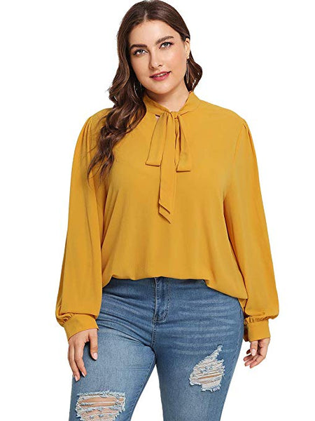 Simplee Solid plus size women blouse shirt
