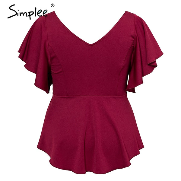 Simplee Plus size womens tops and blouses Elegant o-neck ruffled top shirt female Short sleeve solid high waist peplum blouse