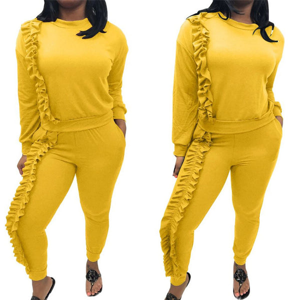 Wjustforu Plus Size 2 Piece Set Tracksuit Women Spring Winter Ruched Ruffle Casual Tops and Pant Sweat Suits Outfits Sweatsuits
