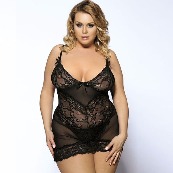 MESH TEDDY WITH LACE EMBELLISHMENTS