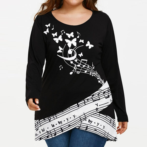 Plus Size 5XL Butterfly Musical Note Blouse Shirt Women Long Sleeve shirt Tops Blouse Round Neck Tunic Tops Loose Blusas