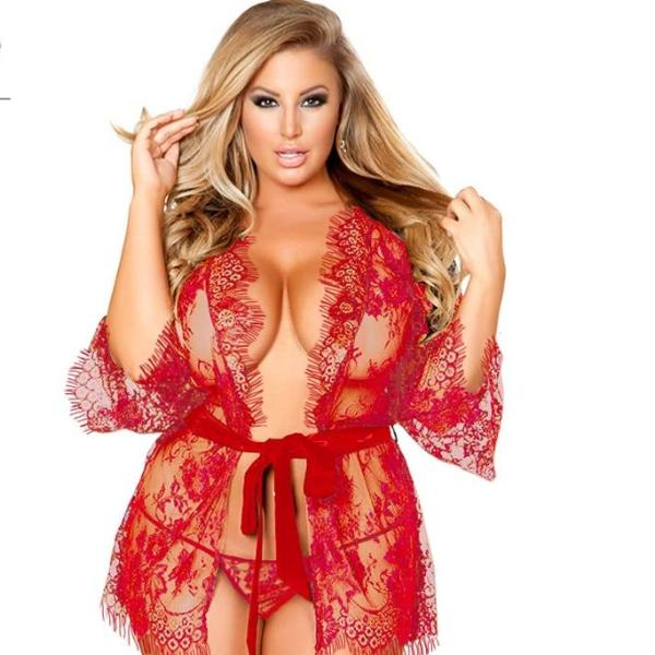 EROTIC BABYDOLL LACE ROBE