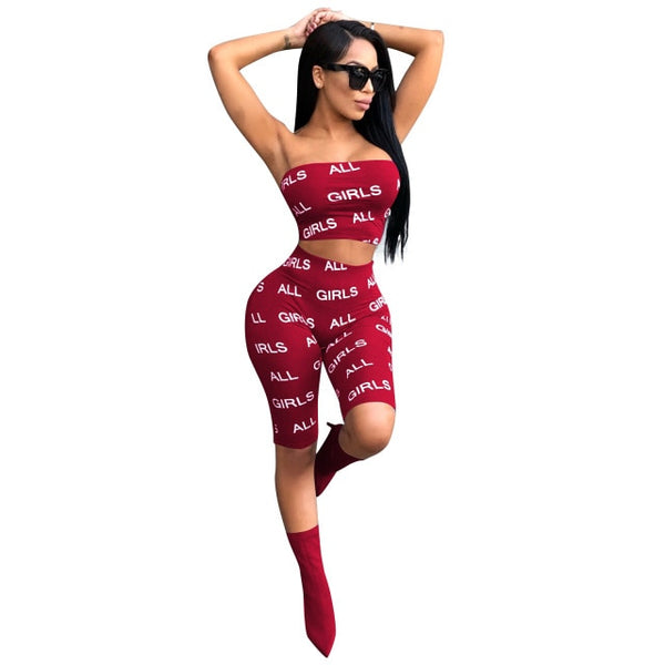 letter print 2 piece set tracksuit women plus size S-XXL strapless short top and pants casual outfit sweat suits two piece set