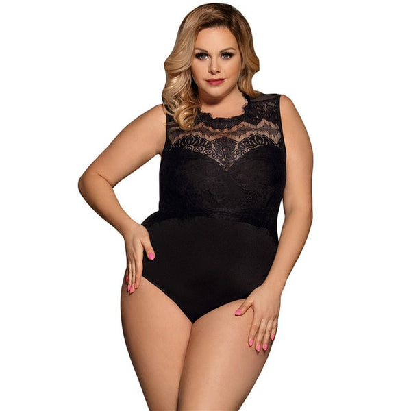 Ohyeahlover Hot Selling Justaucorps Overall Woman Sleeveless Plus Size Bodysuit Female Playsuits RM80472 Fashion Lace Sexy Teddy
