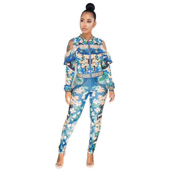 2 PIECE FLORAL SWEATSUIT WITH RUFFLES