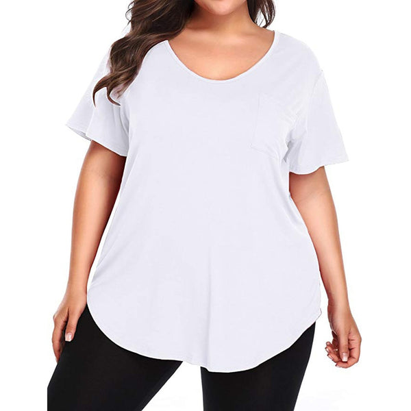 Plus Size Pocket t shirt Short Sleeve Summer tee shirt Casual tshirt Ladies Tops Big Size 5XL basic With Pockets Woman Clothes