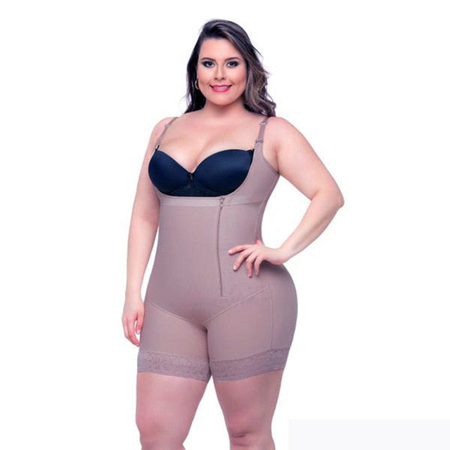 Plus Size 6XL Hot Latex Women's Body Shaper Post Liposuction Girdle Clip Zip Bodysuit Vest Waist Shaper Reductoras Shapewear