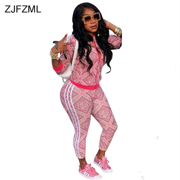 2 PIECE SWEAT SUIT PINK PRINT