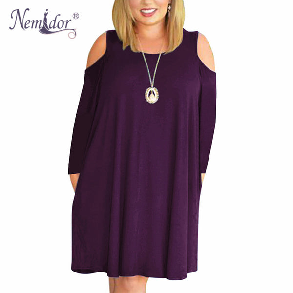Nemidor Women Casual O-neck Off The Shoulder Midi Plus Size Dress Long Sleeve Vintage Solid Loose T-shirt Dress With Pockets
